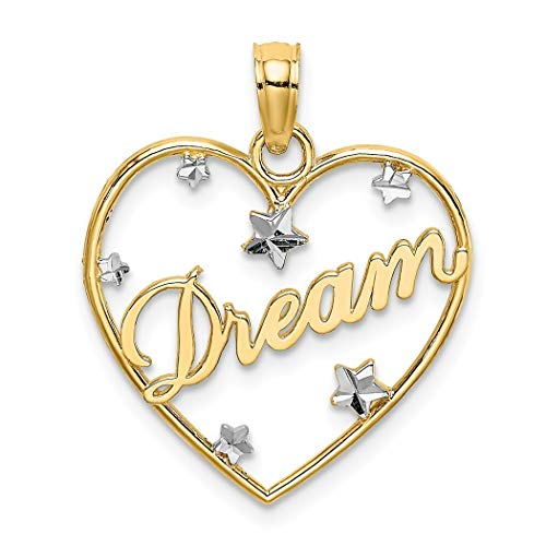 18mm 14ct Twee Toon Goud Droom In Liefde Hart Hanger Ketting Frame Met Drijvende Sparkle Cut Star Accents Sieraden Geschenken voor Vrouwen