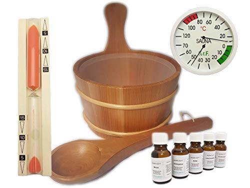 EB-Onlinehandel Sauna Set 10 teilig Red Cedar - Saunaufguss Saunakübel Saunakelle Sanduhr Thermohygrometer Saunazubehör