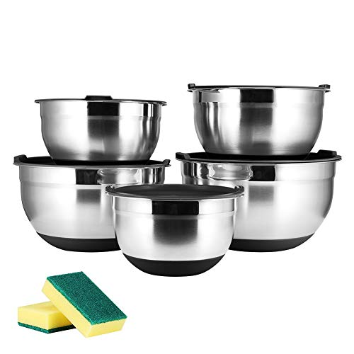 JUNING 18/10 Edelstahlschüssel Set 5 Stück, Hochpolierte Technik, Rührschüssel Set/Salatschüssel aus Edelstahl, Kochen wesentliche Küchenutensilien