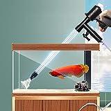 OASHISU Limpiador manual 5 en 1 para acuarios, sifón, aspirador de vacío para cambio rápido de agua, sifón, limpiador de suelo, raspador de algas con cepillo de manguera de doble cara.