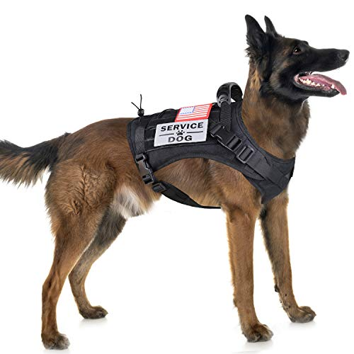 Tactical Service Dog Harness Vest,K9 Adjustable Work Water-Resistant Military Comfortable Molle Handle with Extenrder Strap (XL, Black)