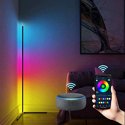 LED Lámpara de Pie Regulable, Sucastle 20W RGB Lámpara de Pie Moderna para Salon Dormitorio, Compatible con Alexa y Google Home, Nordica Minimalista Lámpara de pie Led Colores con Control Remoto,Negro