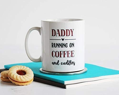 N\A Daddy Running On Love and Cuddles Linda Taza de café - Regalo Blanco de 11 oz para el Padre en el día del Padre Cumpleaños de Navidad