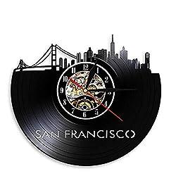 BESI Skyline Wall Art Cityscape Wall Clock Clock Golden Gate Bridge Vintage Vinyl Record Clock Travel Landmark