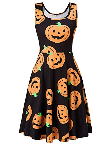 uideazone Women's Sleeveless Scoop Neck Pumpkin Party Midi A Line Tank Dress