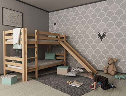 furnneo Bunk Bed with Slide Natural Solid Beech 90 x 200 cm Separable Mark