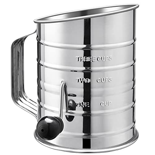 U-Taste Stainless Steel 3 Cup Flour Sifter with 4 Wire Agitators for Quick Sifting, 1 Cushion Ring, Crank Plastic Handle, Stamped Measurement, 20 Fine Mesh for Baking Flour, Powered Sugar