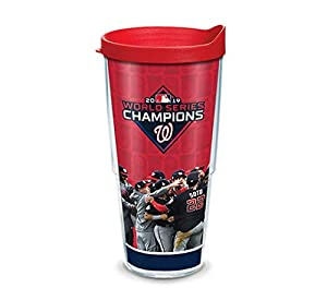 Washington Nationals 2019 World Series Champions Tumbler with Roster Wrap and Red Lid, 24oz