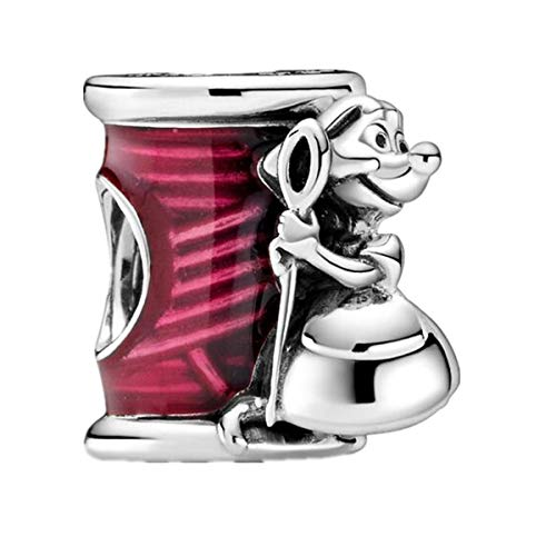 Annmors Charme Disney Aiguille et fil de souris Cendrillon Suzy de Argent Sterling 925 Femmes Fille Perles Charm avec Zircone Compatible pour Pandora&Européen Bracelets