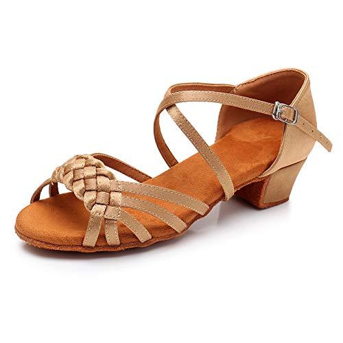YKXLM Mujeres&Niña Zapatos Latinos de Baile Zapatillas de Baile de salón Salsa Tango Performance Calzado de Danza,ES-WH1208-3.5,Beige,EU 27