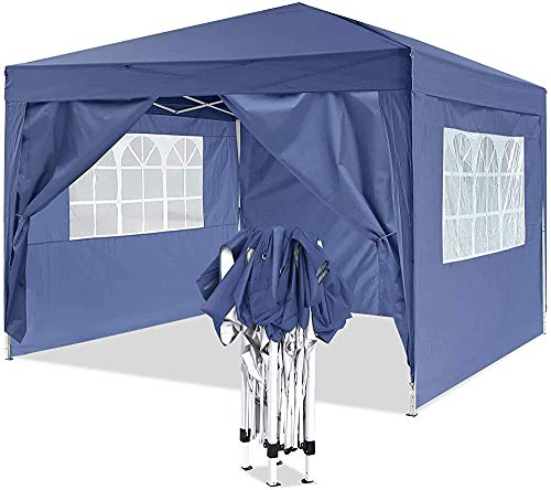 Pop-up Gazebo by a Sturdy Metal Frame, Heavy Pavilion, Suitable for Garden, Terrace, flea Market, Wedding, Birthday Party,Blue-3x3m