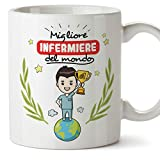 Mugffins Infermiere Tazze Originali di caffè e Colazione da Regalare Lavoratori e Professionisti - Migliore Infermiere del Mondo - Ceramica 350 ml