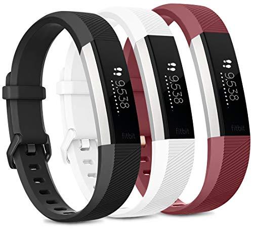 Vancle Set di 3 cinturini per Fitbit Alta HR e Fitbit Alta, regolabili, per Fitbit Alta HR/Fitbit Alta (nero/bianco/rosso vino, S)