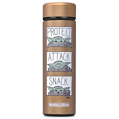 Controller Gear The Mandalorian Protect Attack Snack, Vacuum Insulated Stainless Steel Sport Water Bottle, Leak Proof, Wide Mouth, 17 oz, 500 ML, Bronze, Copper (DWDSXXBTS-0MMD9)