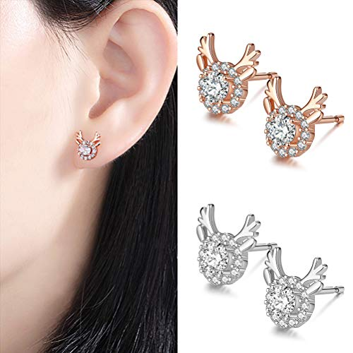 Naduew Christmas Earrings, 2 Pairs Christmas Reindeer Earrings Studs Glittering Crystal Studs Xmas Gift Christmas Earrings Jewelry Gift for Holiday Festival to Women Girls