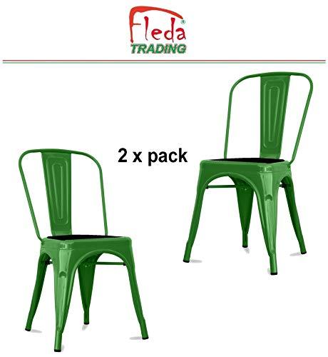 Fleda TRADING metalen stoel met industrieel ontwerp - Tòlix type Pakket van 2 stoelen met kussen groen
