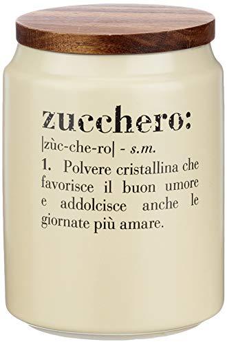Villa d'Este Home Tivoli Victionary Barattolo Zucchero c/Coperchio, Crema, Ø 10,5 x h. 15 cm