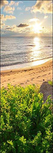 wandmotiv24 Türtapete Himmel, Meer und grünes Gras 70 x 200cm (B x H) - Dekorfolie selbstklebend Sticker für Türen, Tür-Bilder, Aufkleber, Deko Wohnung modern M0922