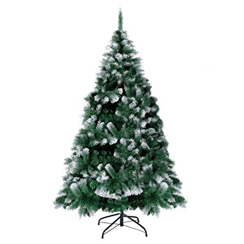 SUNCOM 8FT Christmas Tree Artificial Pine Tree for Holiday Decorations with 1500 Branch Tips, Green Spray White