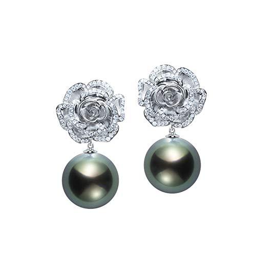 KnSam 18K Oro Blanco Pendiente, Arete Rose Flor con Perla Diamante Blanco, Perla Blanco, Color Oro Blanco, Oro Blanco(Perla Negra)