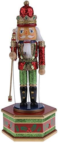 Wzmdd 32 cm object geschilderd kerstcadeau van hout notenkraker speelgoed wind up musical Box huis kerst decoratie ornament batterij batterij zoals beschreven