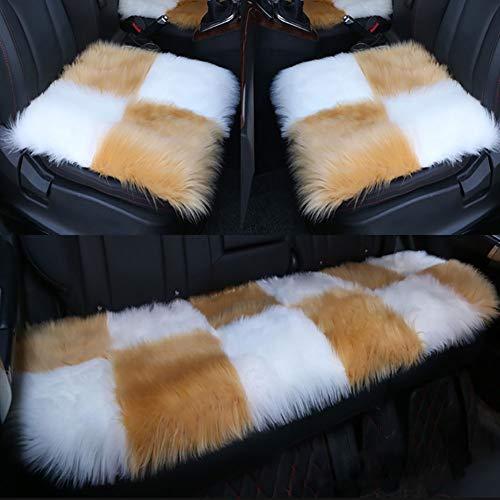 Vierkant gebied Seat Auto Kussen, Zachte High Pile Faux Schapenvacht Bont Stoel Sofa voor 2 vierkante pad, 1 achterbank kussen