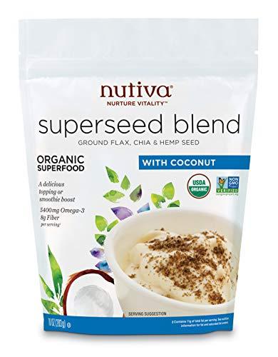 Nutiva Organic Raw Superseed Blend (Flax, Chia & Hemp), 10 Ounce   USDA Organic, Non-GMO, Non-BPA   Vegan & Gluten-Free   Nutrient-Dense Seeds for Salads, Yogurt, Smoothies & More