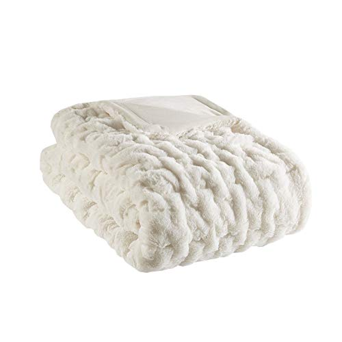 Madison Park Ruched Fur Luxury Throw Ivory 5060 Premium Soft Cozy Brushed Long Fur For Bed, Coach or Sofa