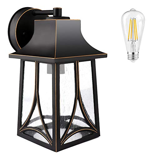 Outdoor Lights Wall Mount, Outside Wall Lights Exterior Light Fixtures Wall Sconce Lantern, Waterproof Porch Light Wall Lamp with Seeded Glass for Front Door, Garage, Doorway (Bulb Included)