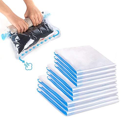 otumixx Reise Vakuumbeutel zum Rollen 10 Stück Kompressionsbeutel 3 Größen Wiederverwendbar Vakuumbeutel Reise robuste Vakuum Aufbewahrungsbeutel für Kleidung Decken Camping und Backpacking