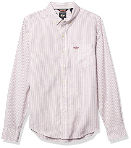 dockers Herren Oxford Long Sleeve Front Shirt Button Down Hemd, Damson Pflaume - Weiß gestreift, XXL