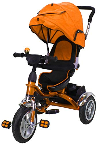 Miweba Kinderdreirad Schieber 7 in 1 Kinderwagen - 360° Drehbar - Luftreifen - Heckfederung - Laufrad - Dreirad - Schubstange - Ab 1 Jahr (KS07 Orange)