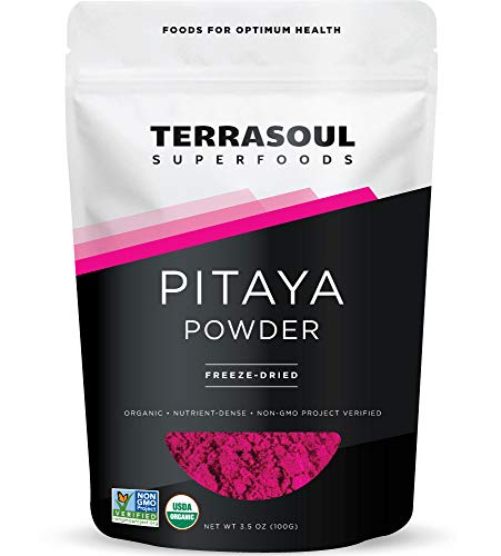 Terrasoul Superfoods Organic Freeze-Dried Pitaya Powder (Dragon Fruit), 3.5 Oz - Vibrant Color | Antioxidants | Vitamin C