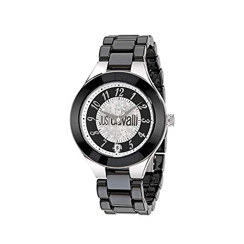 Roberto Cavalli Just Cavalli Reloj de cerámica negro y pavé