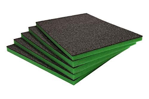 Shadow Foam Easy Peel (600mm x 420mm) - personalisierbarer Schaumstoff für die Organisation von Werkzeugkisten (Fünferpack (30mm Tiefe), Schwarz auf grün)