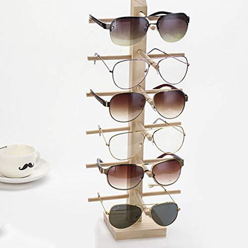 Multi Layers Holz Sonnenbrille Display Racks Regal Brillen Show Stand Schmuckhalter für Multi Pairs Brille Showcase Frauen, Single, 6 Reihen