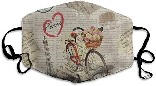Preisvergleich Produktbild Staubdichte waschbare Wiederverwendbare Vintage Paris Eiffelturm Fahrrad Mundabdeckung Maske Atemschutzmaske Keimschutz Warme Winddichte Maske