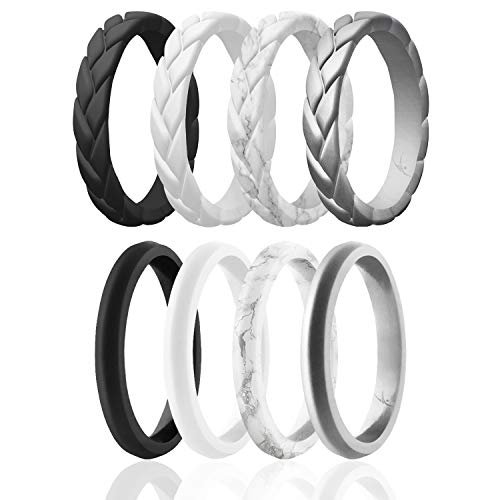 ROQ Silicone Rings for Women - Thin Womens Silicone Rubber Wedding Rings Bands - Braided Flame Leaves and Point Collection - Can Be Used as Stackable Rings - Black, White, Silver Colors - Size 8