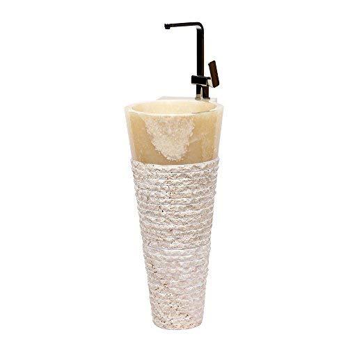 wohnfreuden Onyx Stand-Waschbecken Pedestal 40 x 90 cm groß rund honigbraun gehämmert