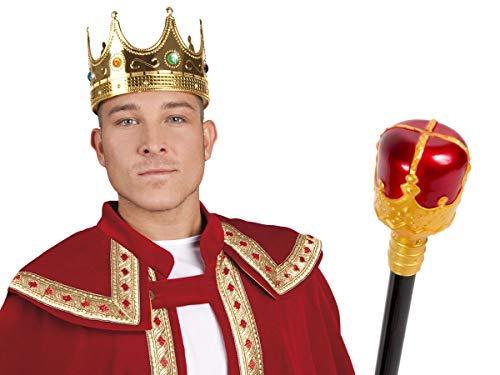 Alsino Prinz König Erwachsenen Köstum Set 2-teilig (Kv-148) mit Königskrone und Königs-Zepter