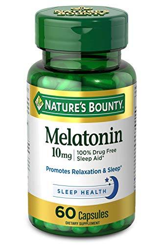 Melatonin by Nature#039s Bounty 100% Drug Free Sleep Aid Dietary Supplement Promotes Relaxation and Sleep Health 10mg 60 Capsules