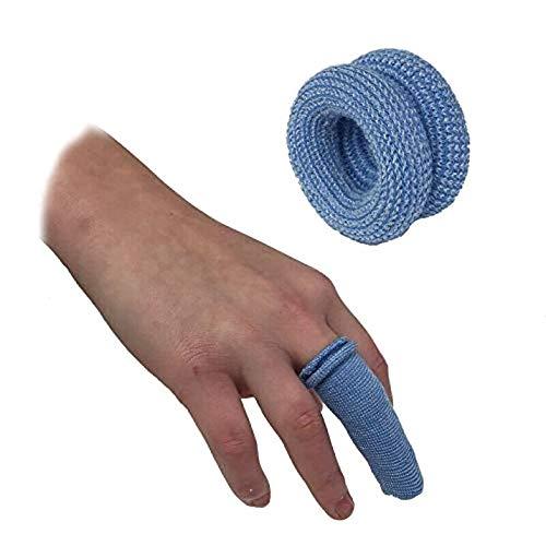 iMiMi - Vendaje de dedo tubular de primeros auxilios (10 unidades), color azul y blanco, Azul