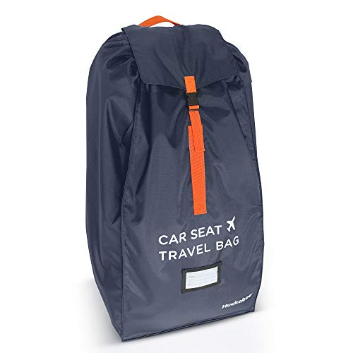 Car Seat Travel Bag - Strong Non Rip Nylon, Fits All Sizes, Navy, with Sun Shade