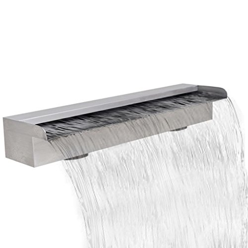 Daonanba Decorative Pool Fountain Rectangular Waterfall Pool Fountain Stainless Steel Durable Unique 23.6""