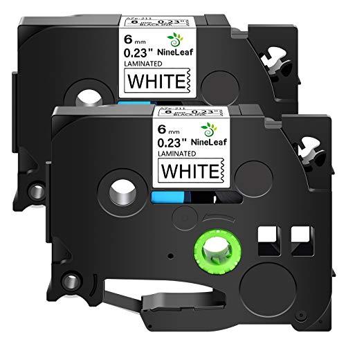 NineLeaf 2 Pack Compatible for Brother TZe-211 TZe211 TZ-211 TZ211 Label Tape 6mm 1/4' Black on White Standard Laminated Labeling Work with P-Touch PT-D210 PTD400AD PTH110 PT-D600 Label Maker