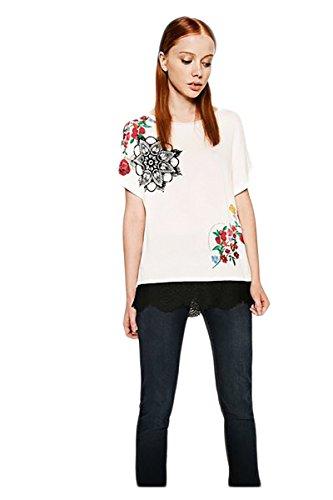 Desigual TS_OPORTO Camiseta, Beige (Crudo 1001), Medium para Mujer