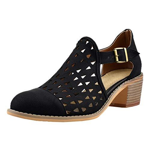 MISSUIT Damen Vintage Chunky Heels Pumps mit Blockabsatz und Lochmuster 5cm Mid Heels Cut Out Schuhe(Schwarz,37)