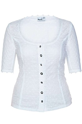 MarJo Damen Trachten Mieder Bluse weiß, WEIß, 42