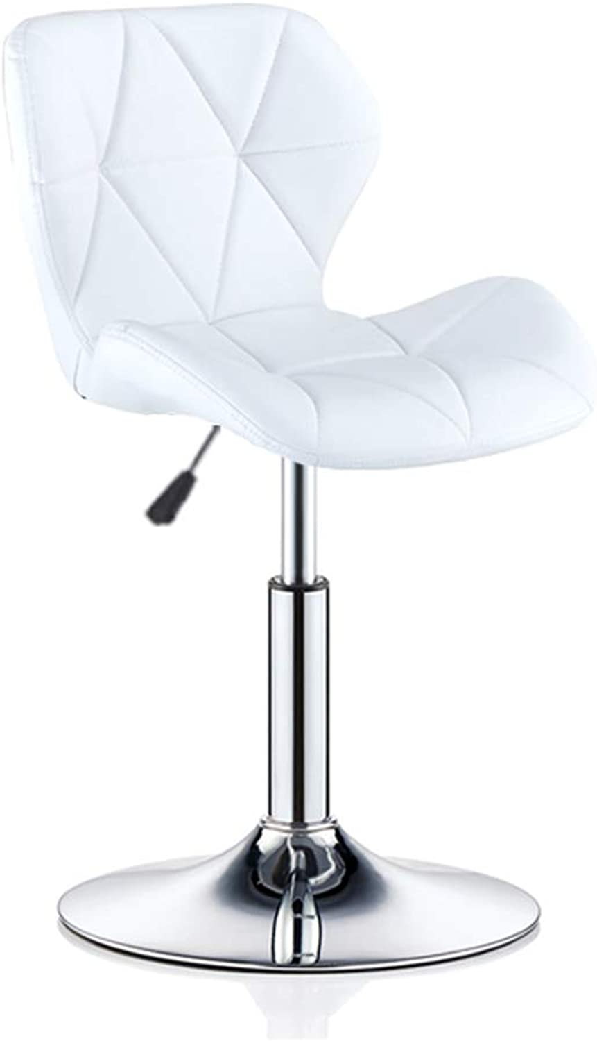 Barstools - Artificial Leather Appearance Bar Chair with Backrest Dining Stool Adjustable Chrome Steel Base 0509A (color   White)