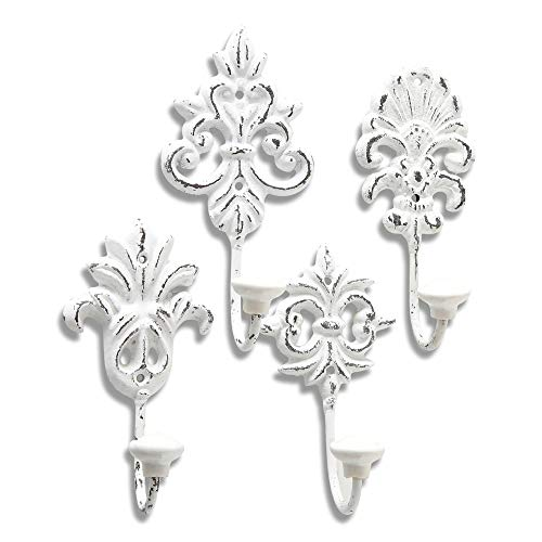 WHW Whole House Worlds Chateaux Fleur De Lis Wall Hooks, Set of 4, Shabby Distressed Finish, French Country Style,Rustic White, Cast Iron, Vintage Inspired, Porcelain Caps, Each 6 3/4 Inches Tall